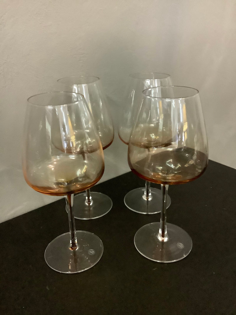 MOUTH BLOWN BROSTE GLASSES - AMBER