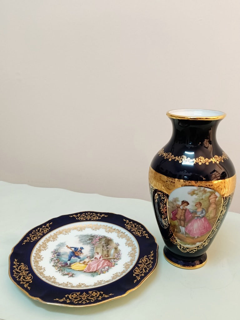 Limoges Hand Painted Vase & Plate
