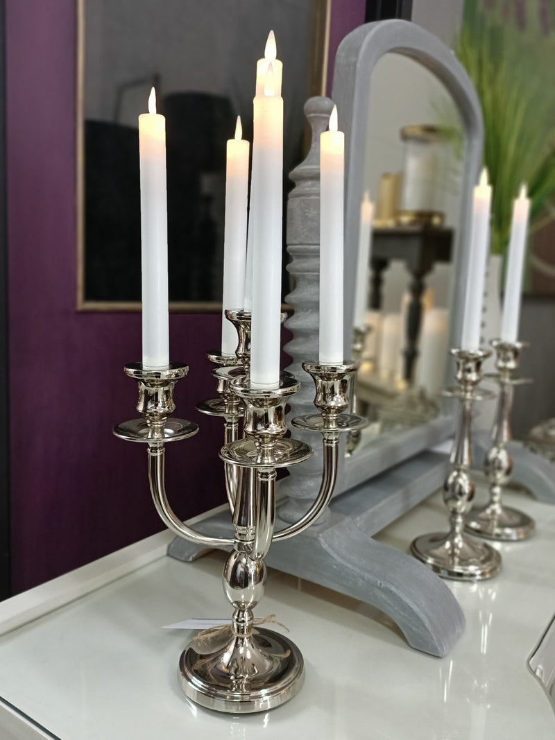 5 Candle- Candle Holder Nickel Plated