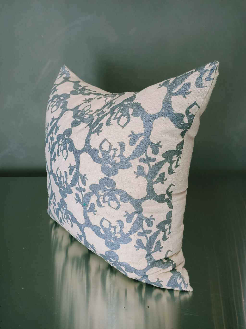 Cream & light blue patterned cushion