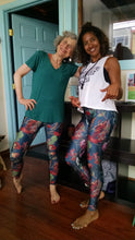 Load image into Gallery viewer, Magical Yogi Wear: Teal Valfloral Leggings - Marie-Joie Hughes Artwork & Designs