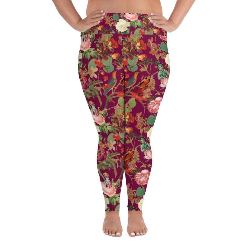 Magical Yogi Wear Deep fuchsia Val Floral print-plus sizes - Marie-Joie Hughes Artwork & Designs