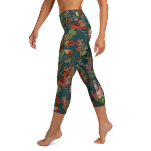 Teal Valfloral Capri Yoga Leggings-Magical Yogi Wear