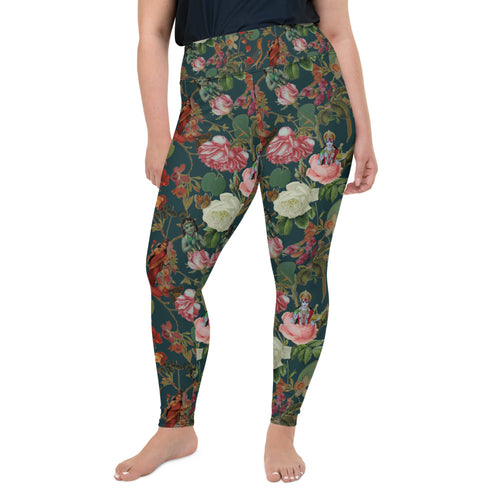 Magical Yogi Wear: Teal ValFloral yoga leggings- Plus sizes