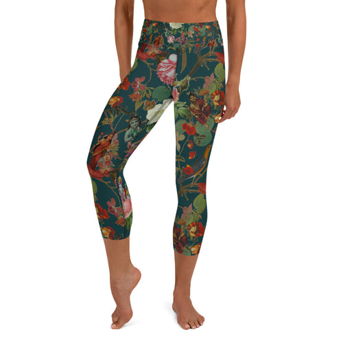 Teal Valfloral Capri Leggings-Magical Yogi Wear