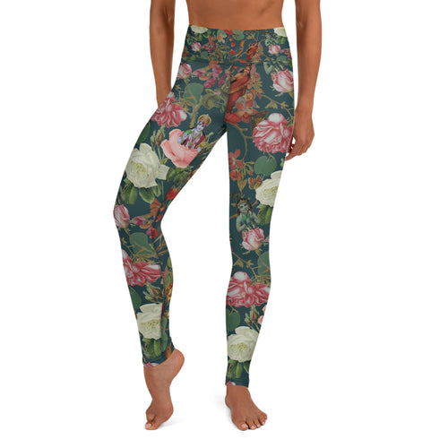 Teal Valfloral Yoga Leggings-Magical Yogi Wear