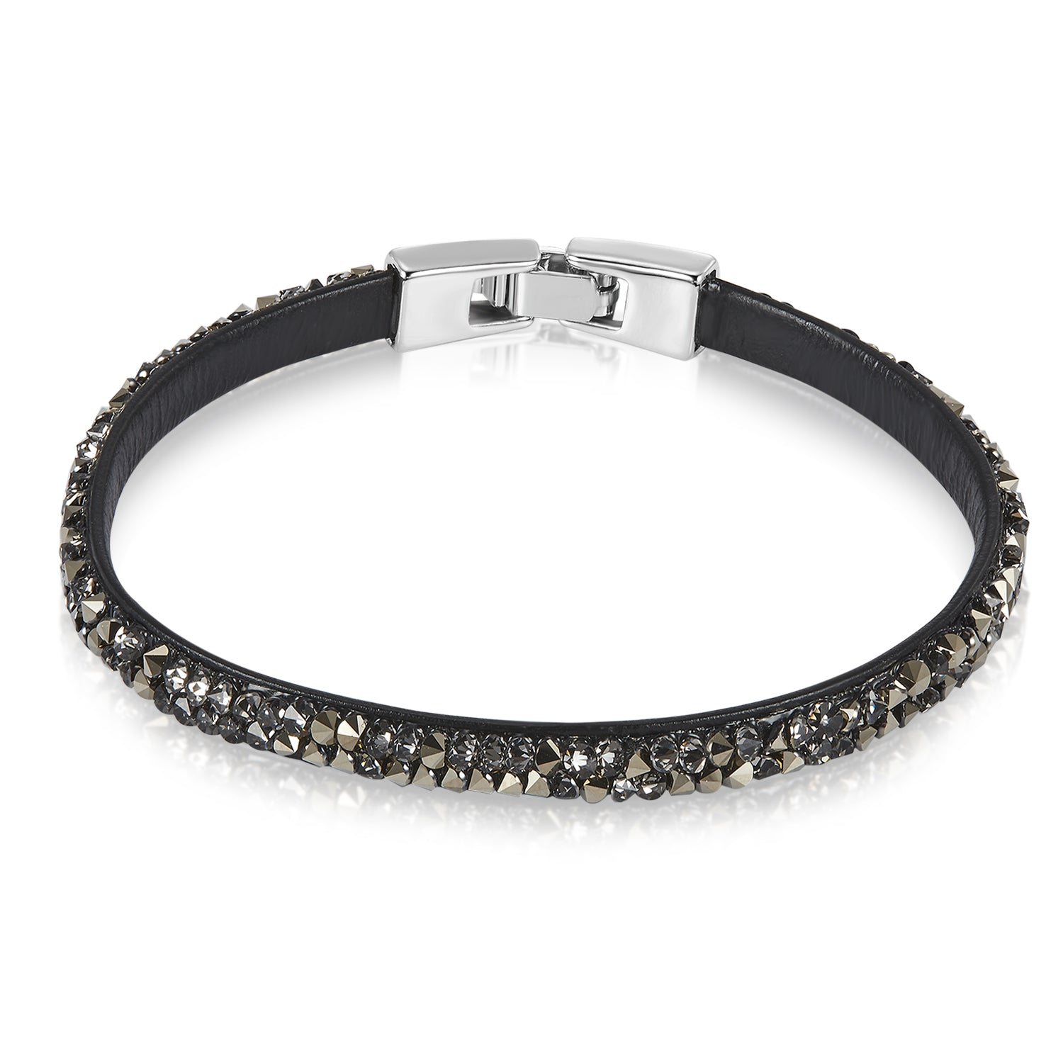 Raw Crystal Bracelet Ft Swarovski Crystals -Gray