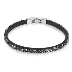 Raw Crystal Bracelet Ft Swarovski Crystals -Dark Gray