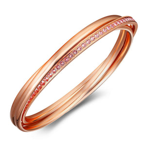 Interlinked Triple Bangle w/Swarovski® Crystals - Rose Gold