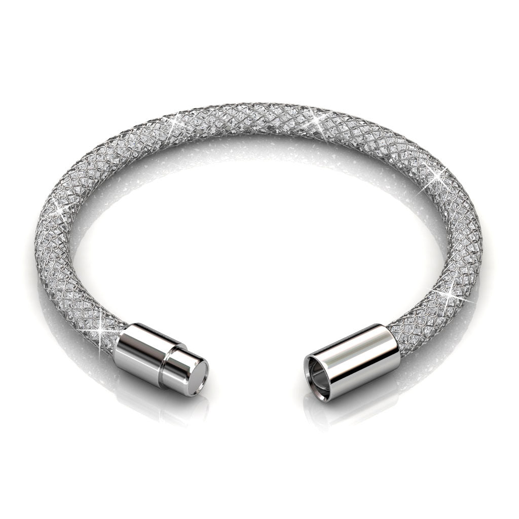 Mesh Single Wrap Bracelet Ft Swarovski Elements-WhtGld