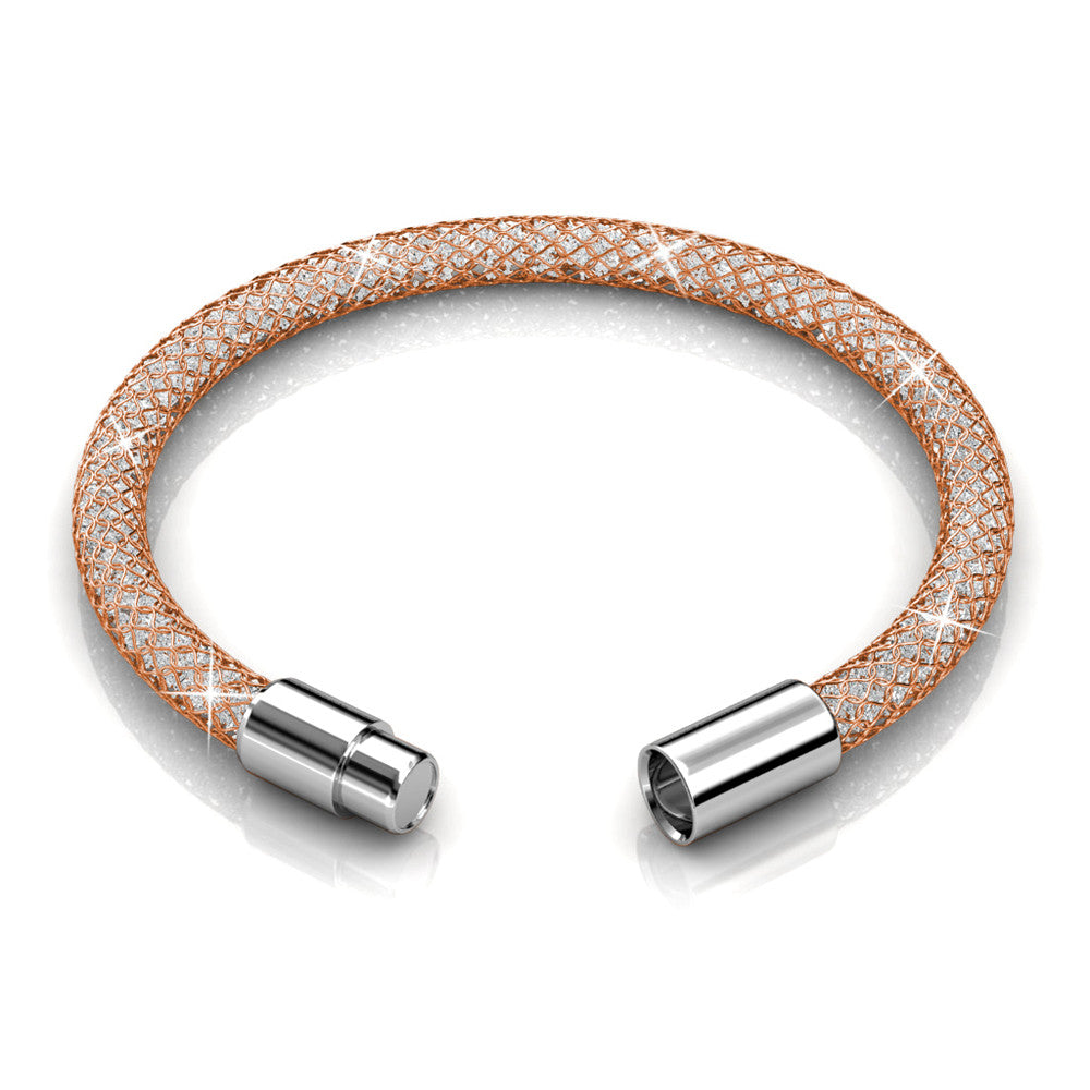 Mesh Single Wrap Bracelet Ft Swarovski Crystals -Pink Fire