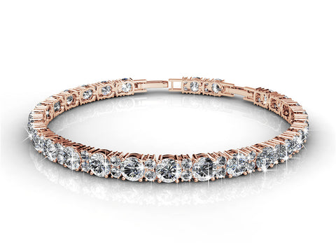 Tennis Bracelet w/Swarovski® Crystals -Rose Gold/Clear