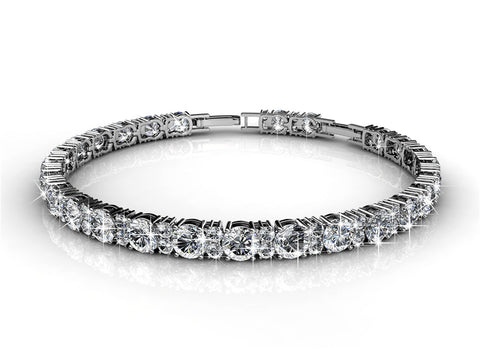 Tennis Bracelet w/Swarovski® Crystals -White Gold/Clear
