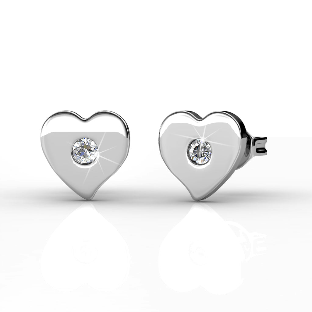Heart Stud Earrings  Ft Swarovski Elements