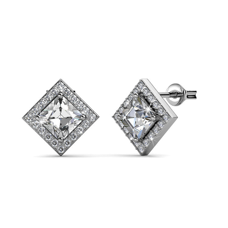 Apex White Gold Earrings Ft Swarovski Crystals