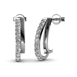 Evolve White Gold Earrings Ft Swarovski Crystals