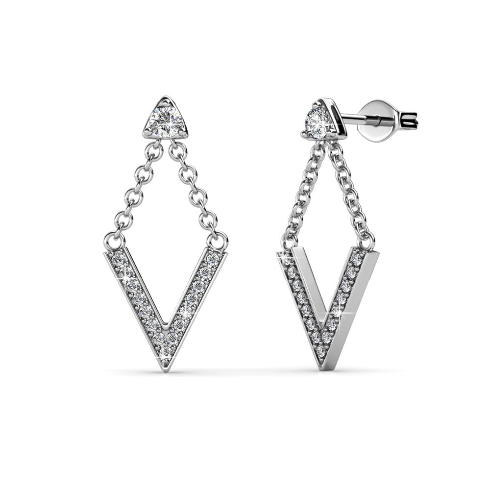 Arrowed Elegance Earrings Ft Swarovski Crystals