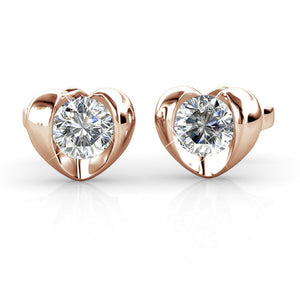 Heart Stud Earrings w/Swarovski® Crystals -Rose Gold/Clear