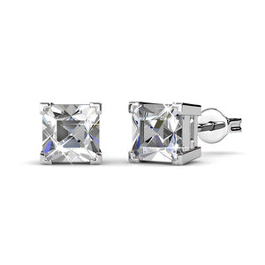 Square Stud Earrings w/Swarovski® Crystals -White Gold/Clear
