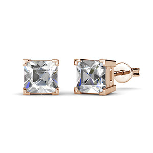 Square Stud Earrings w/Swarovski® Crystals -Rose Gold/Clear