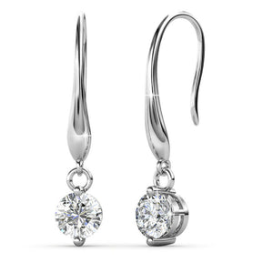 Drop Earrings w/Swarovski® Crystals -White Gold/Clear