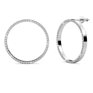 Halo Stud Earrings w/Swarovski® Crystals -White Gold/Clear