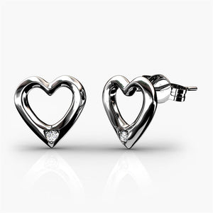 Heart Earrings w/Swarovski® Crystals -White Gold/Clear