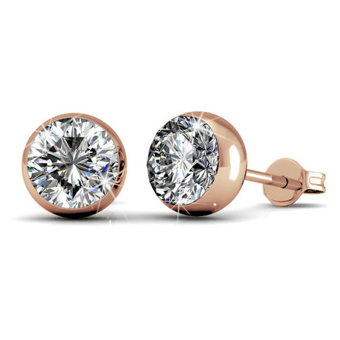 Stud Earrings w/Swarovski® Crystals -Rose Gold/Clear
