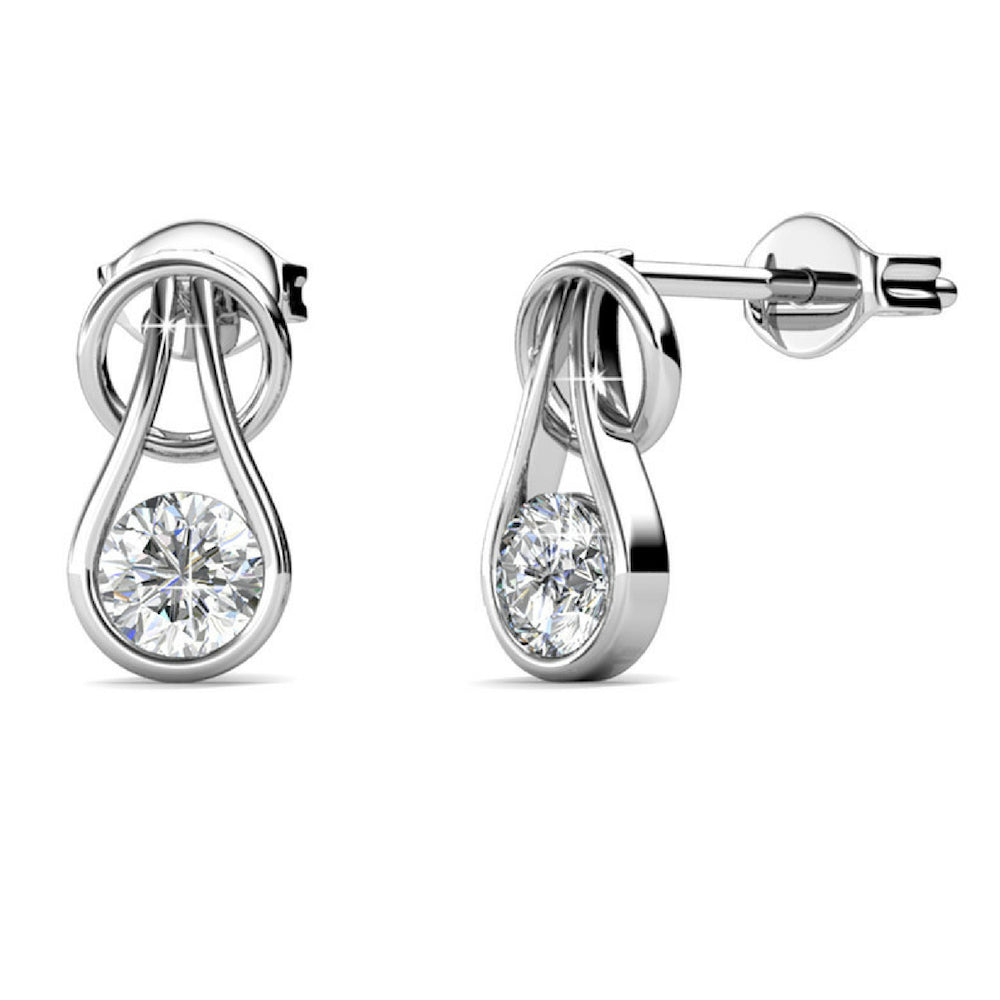 Lavish Earrings w/Swarovski® Crystals -White Gold/Clear