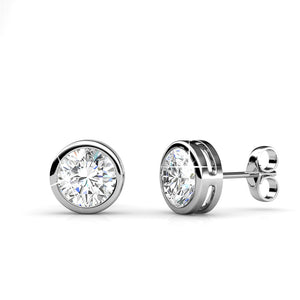 Stud Earrings w/Swarovski® Crystals -White Gold/Clear
