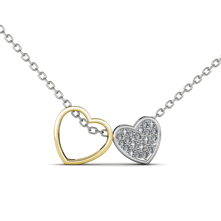 Two Tone Heart Pendant Necklace Ft Swarovski Crystals