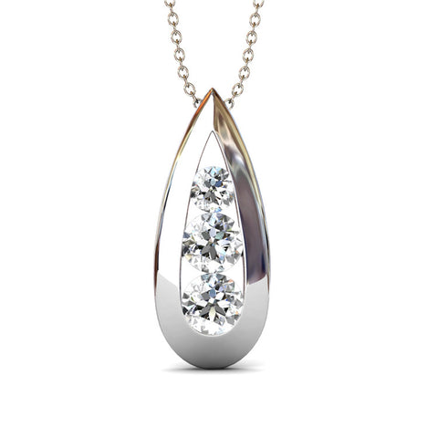 Teardrop Pendant Necklace Ft Swarovski Crystals