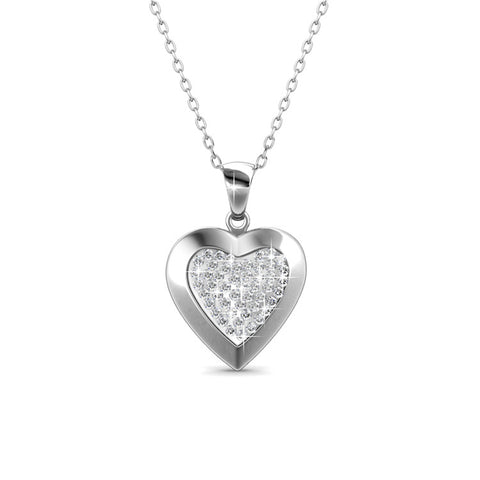 Heart In Heart Pendant Necklace Ft Swarovski Crystals