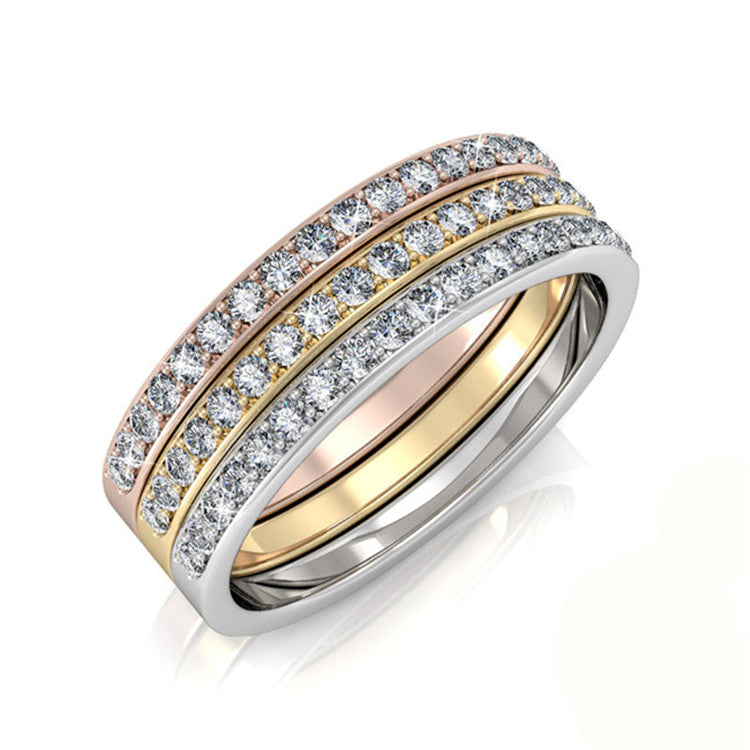 Tri Tone Triple Stack Ring Set Ft Swarovski Elements