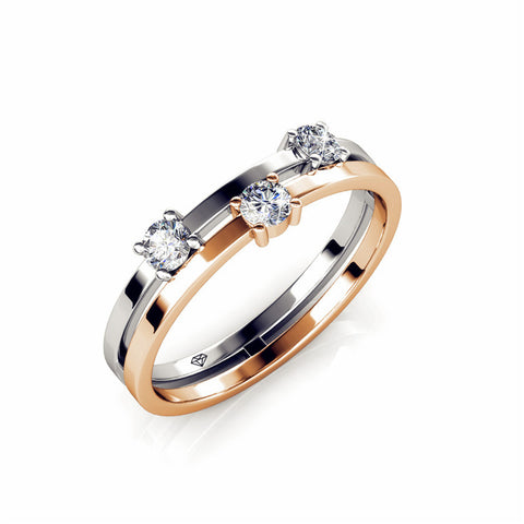 Two Tone Tri Setting Ring Ft Swarovski Crystals