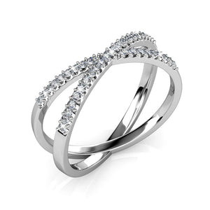 Revolve White Gold Ring Ft Swarovski Crystals