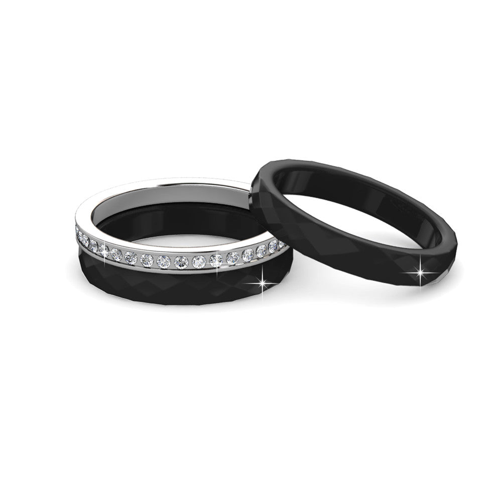 3 in 1 Black Ring Set Ft Swarovski Crystals