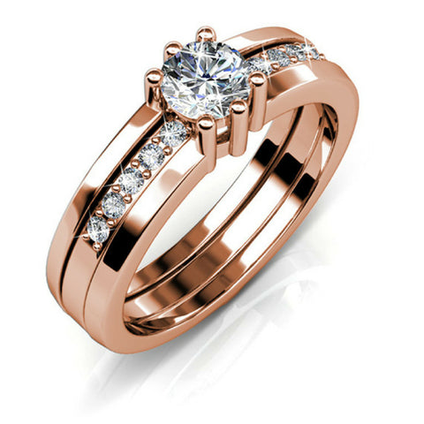 Royal Ring w/Swarovski® Crystals -Rose Gold/Clear
