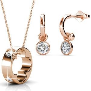 2pc Set Ft Swarovski Crystals - Rose Gold