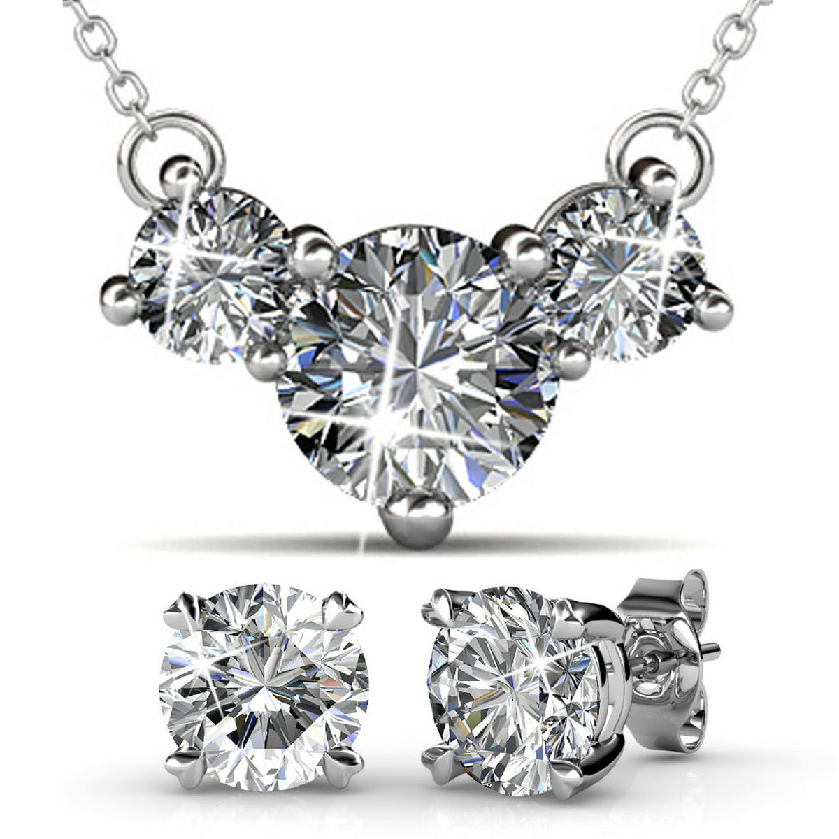 2pc Set Ft Swarovski Crystals - White Gold