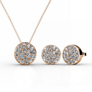Pave Pendant Necklace & Earrings Set Ft Swarovski Elements -RG