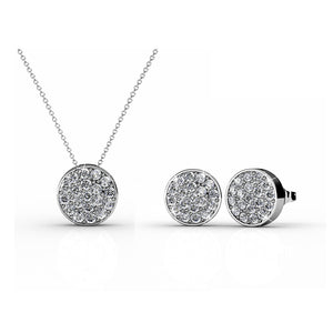 Pave Pendant Necklace & Earrings Set Ft Swarovski Elements -WG