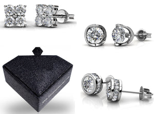 Boxed Earring 3 Pair Set Ft Swarovski Elements