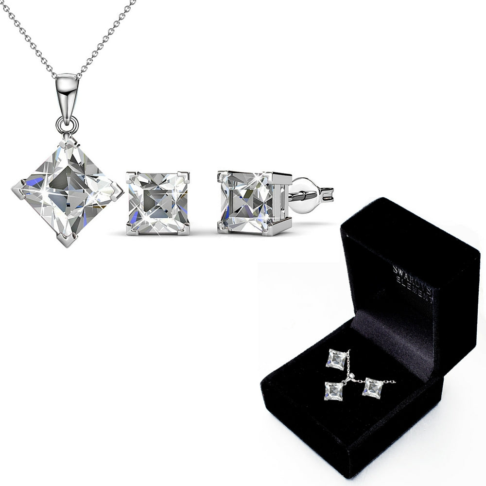 Boxed Matching Set Ft Swarovski Elements - Clear