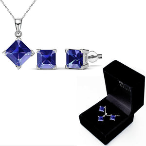 Boxed Matching Set Ft Swarovski Elements - Purple