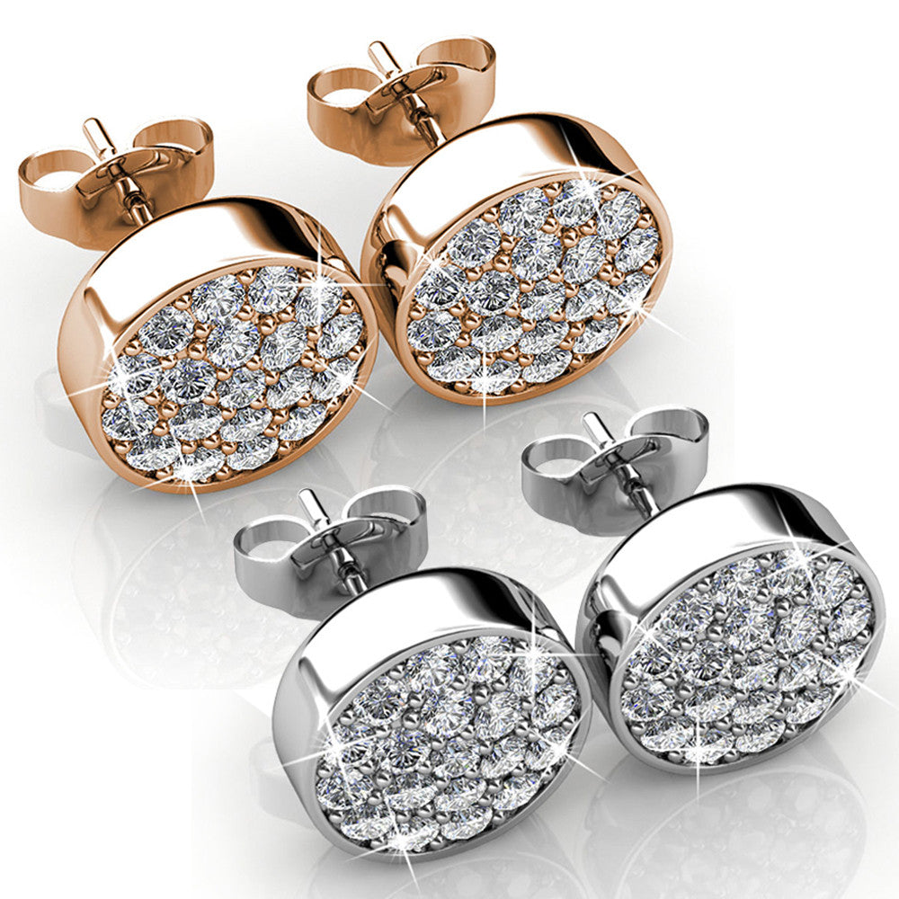 2pc Pave Earring Set Ft Swarovski Crystals