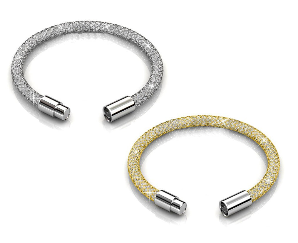 2pc Mesh Bracelet Set Ft Swarovski Crystals