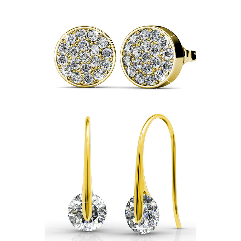 Earring Set w/Swarovski® Crystals - 2 Pairs - Gold / Clear