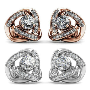 Earring Set w/Swarovski® Crystals - 2 Pairs - Rose Gold / White Gold / Clear