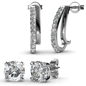 Earring Set w/Swarovski® Crystals - 2 Pairs - White Gold / Clear